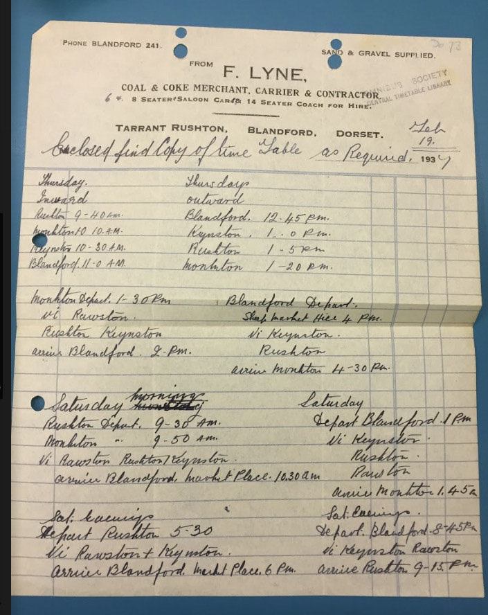 1937 hand written timetable for Blandford route