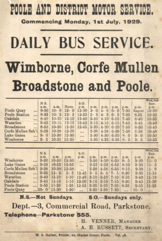 Poole and District timetable July 1929