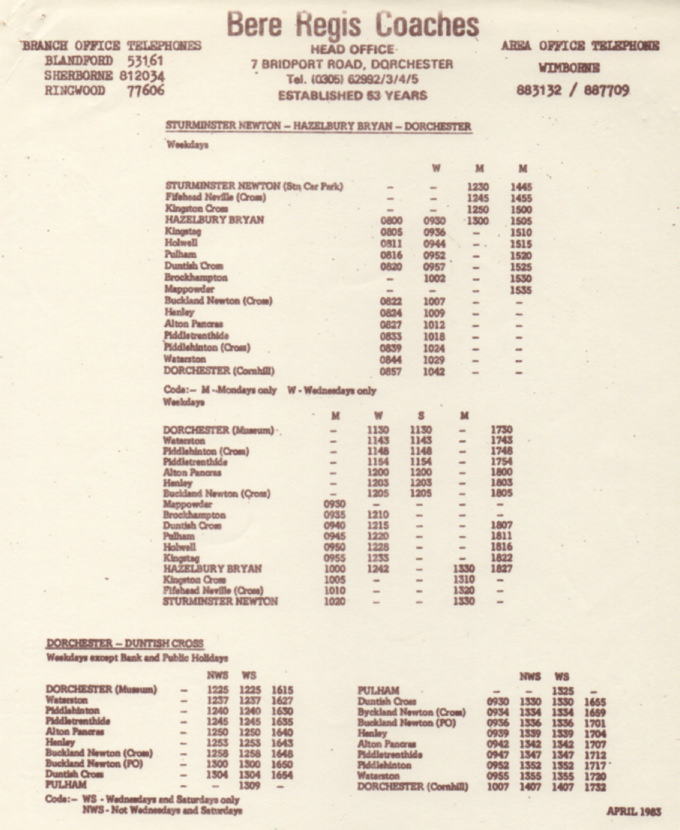 1983 timetable Piddle Valley routes