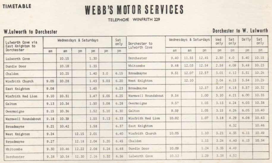 timetable Lulworth to Dorchester service