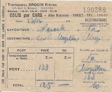 parcel ticket / Drouin / billet colis