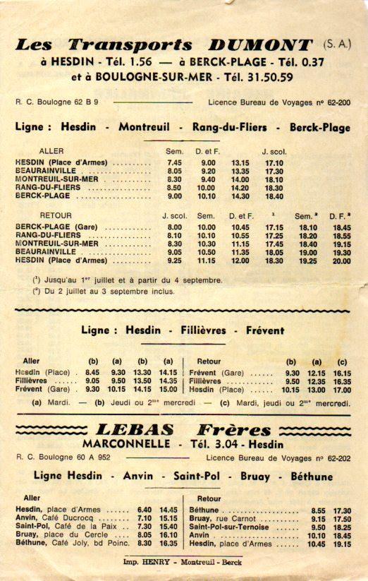 timetable hesdin - berck