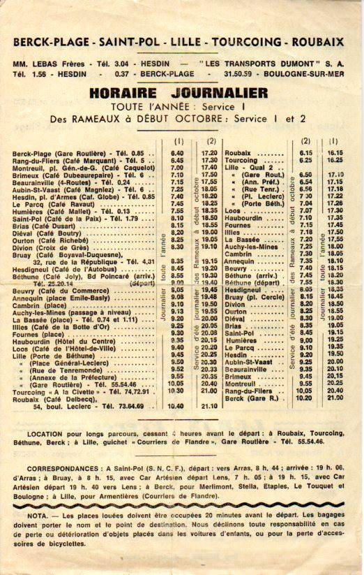 timetable berck - roubaix
