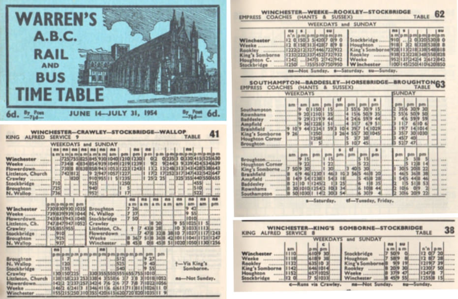 1954 timetables