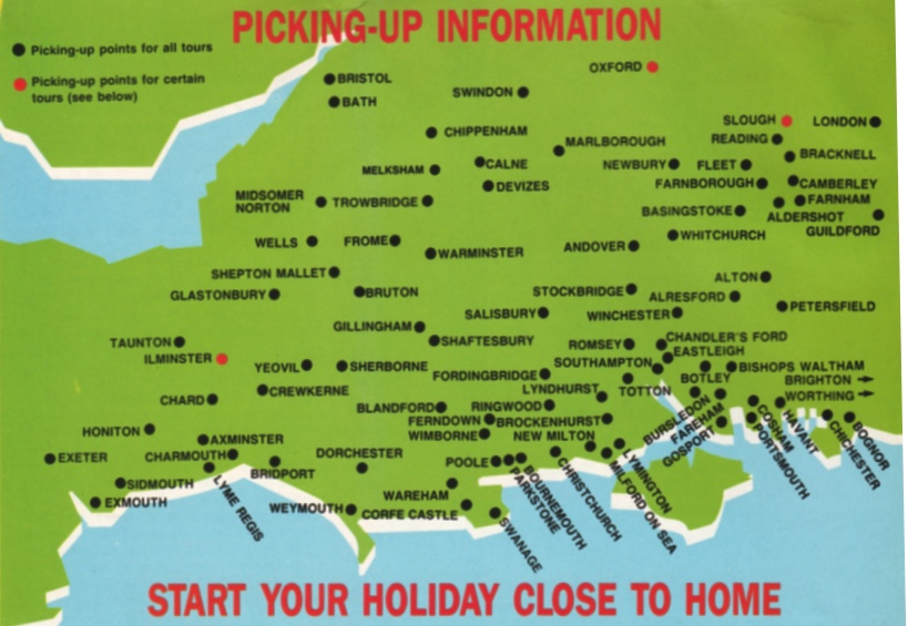 map of the pick up area for tours from the 1986 brochure
