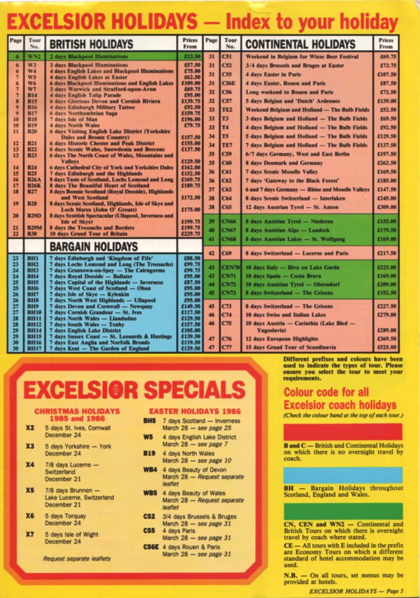 List of holiday tours from the 1986 brochure