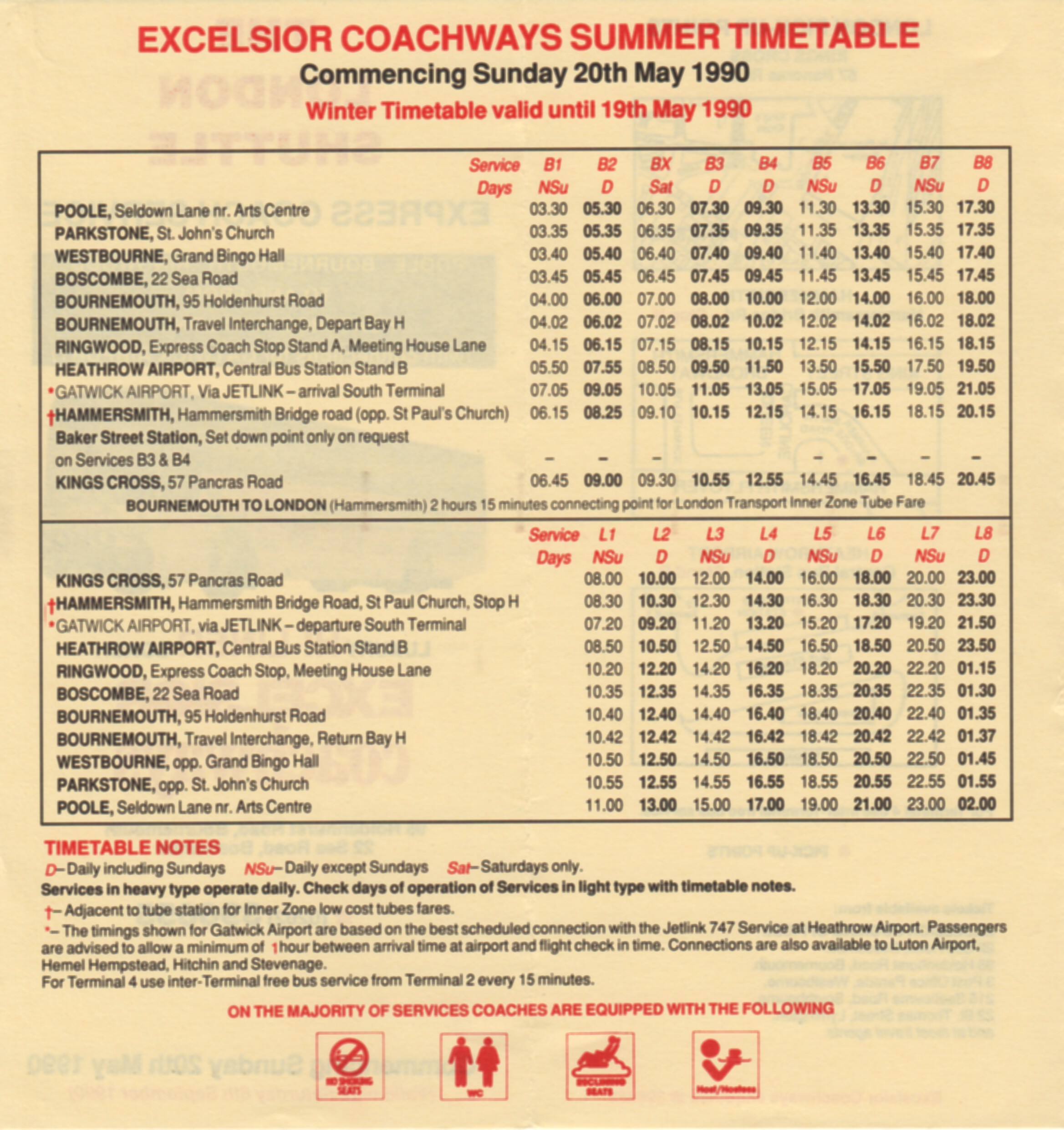 1990 summer timetable London service