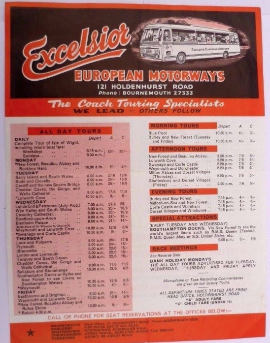 local tours handbill from the 1960s