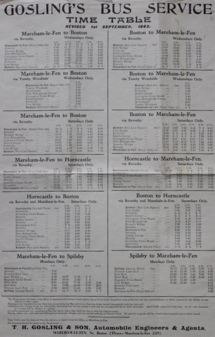 1943 timetable