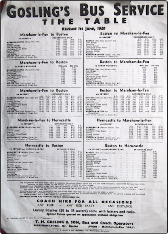 1959 Gosling timetable