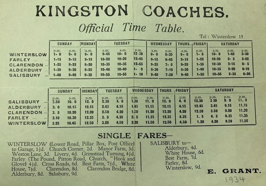 1934 timetable Kingston Coaches