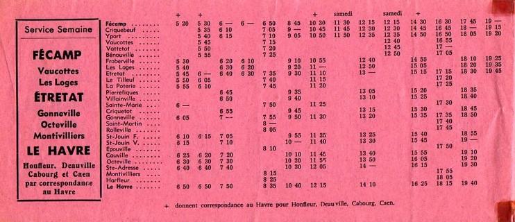 timetable 1962 Etretat