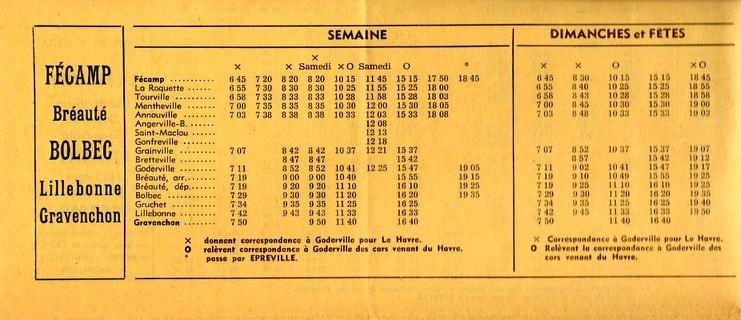 Timetable 1968 Gravenchon