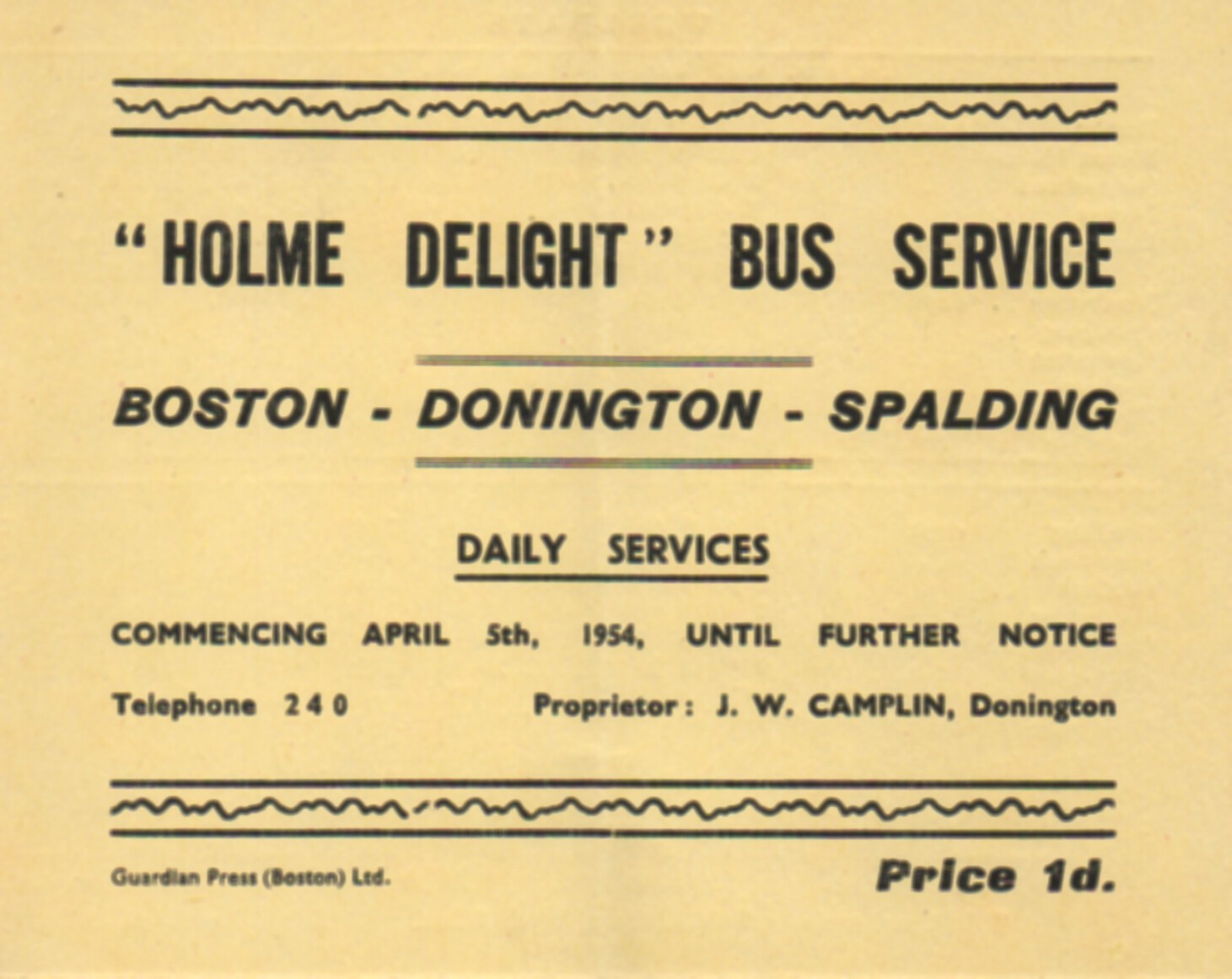 cover of 1954 Camplin timetable