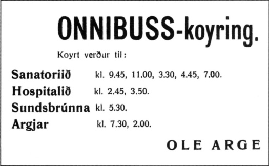 1944 bus timetable Ole Arge