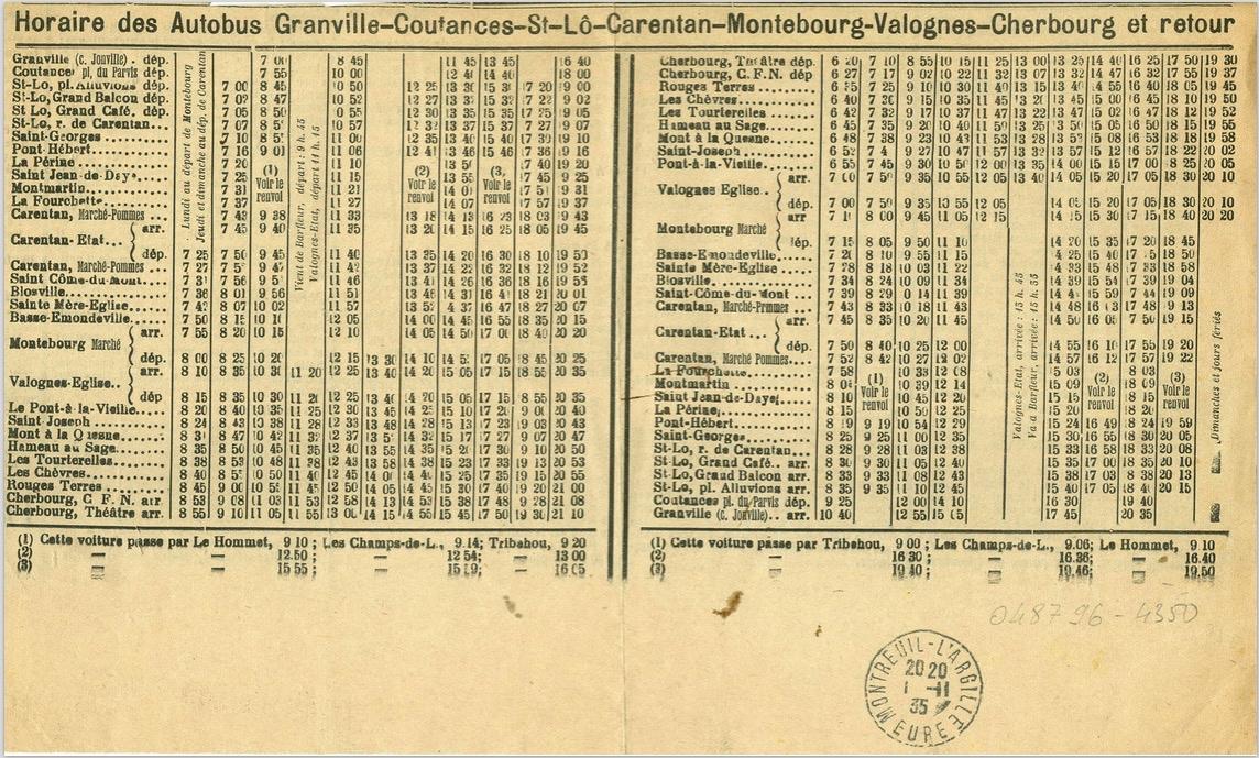 1935 timetable Cherbourg St Lo Granville