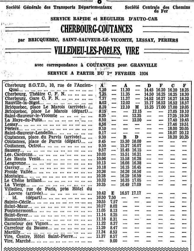 first part of February 1934 SGTD timetable