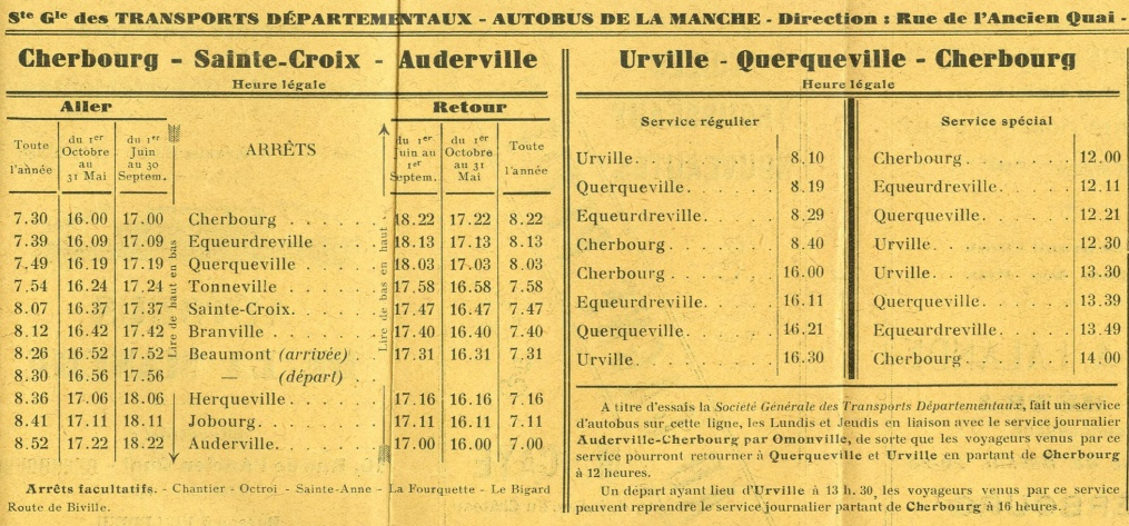 first part of SGTD timetable Auderville 1932