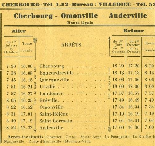 second part of 1932 Auderville timetable SGTD