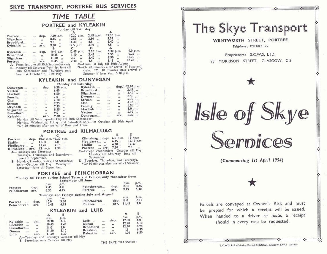 April 1954 Skye Transport timetable