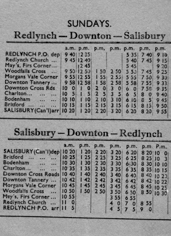 pages from the 1935 Skylark timetable