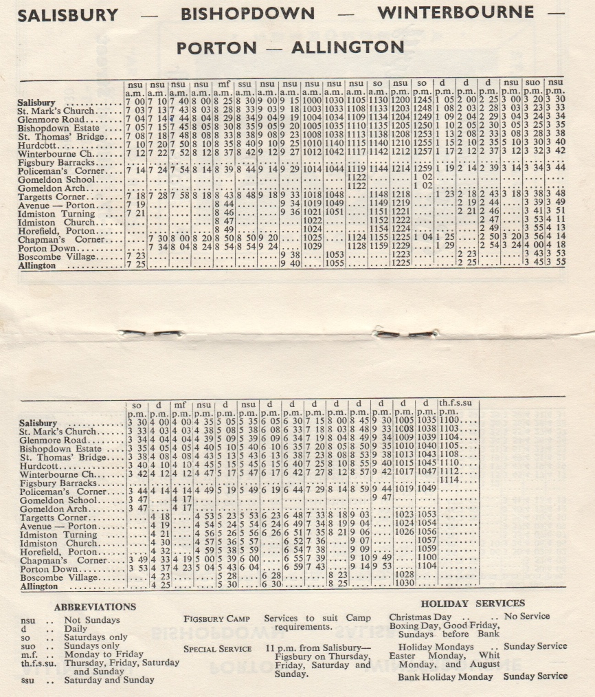 1963 timetable page from Salisbury