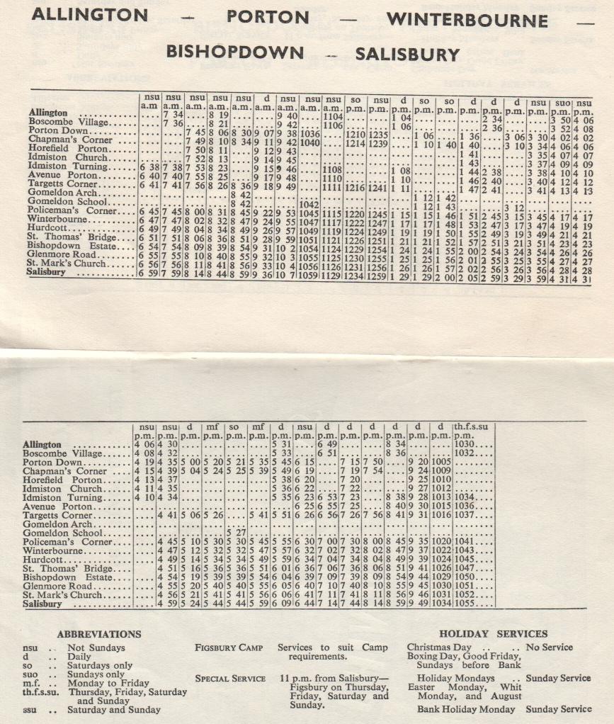 1963 timetable page towards Salisbury