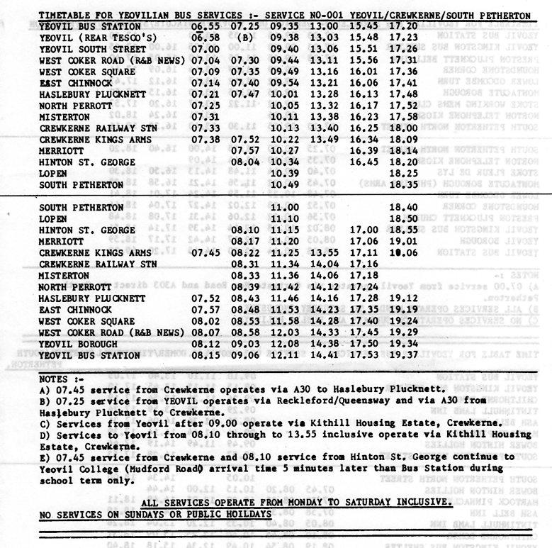 Yeovilian timetable 001