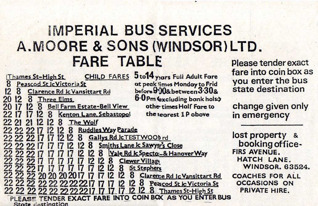 imperial 1982 fares
