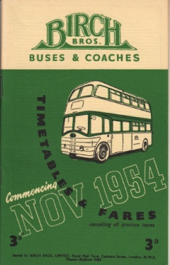 cover of November 1954 timetable