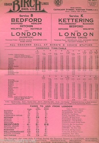 June 1932 Birch timetable B and K