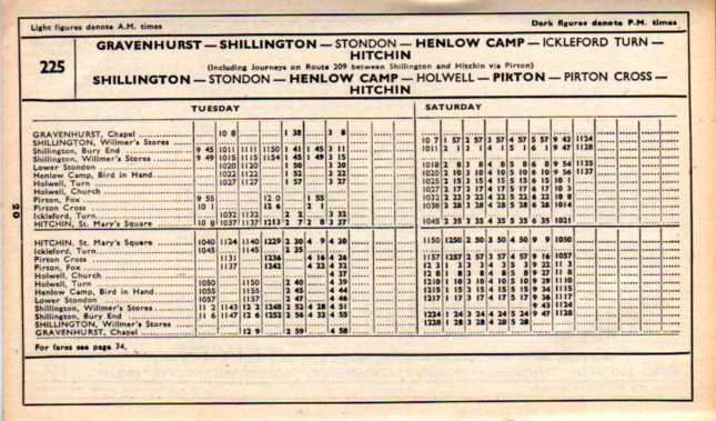 225 timetable to Hitchin