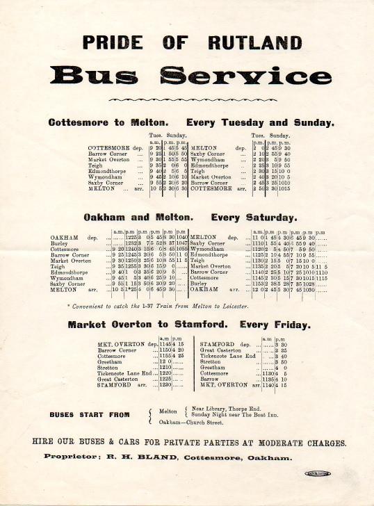 1930s timetable Pride of Rutland