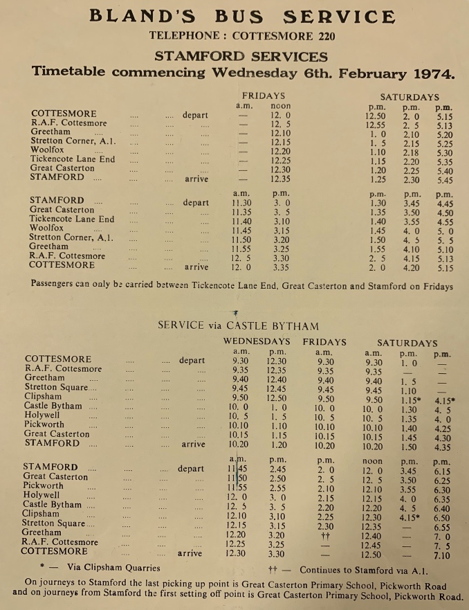 1974 timetable for Stamford services