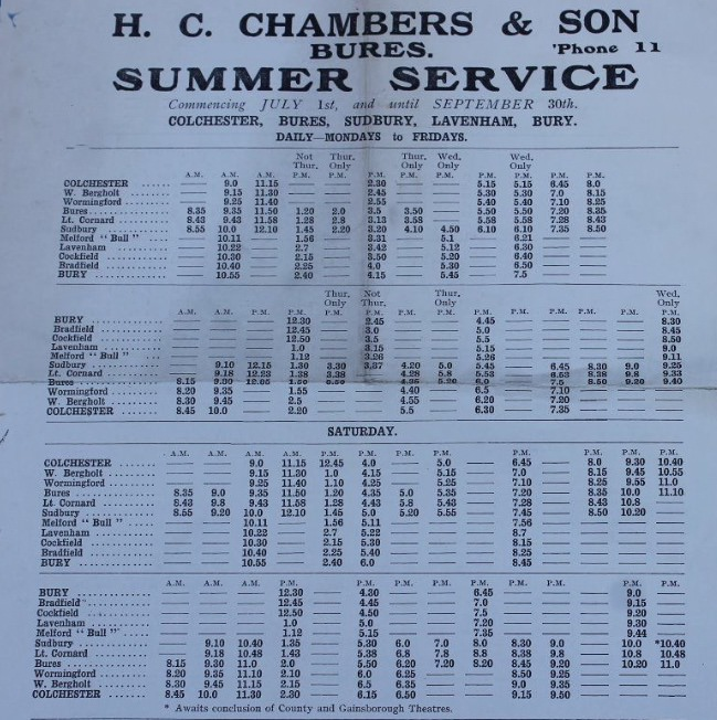 old undated Chambers timetable sheet