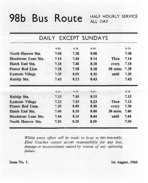 1968 timetable Elms Coaches
