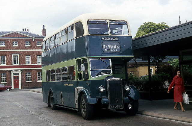 Gash double decker KAL580 at Newark bus station in 1977