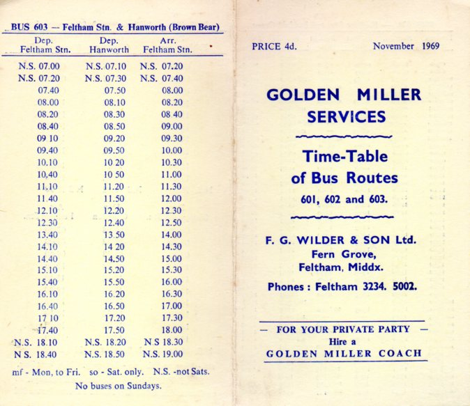 Golden Miller timetable 1969 cover and 603