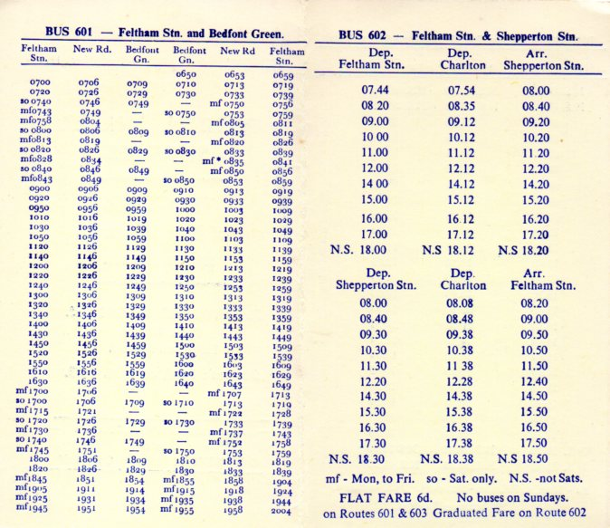 Golden Miller 1969 601 and 602 timetables