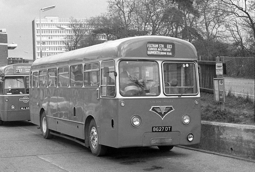 AEC single decker of Golden Miller at Feltham Station