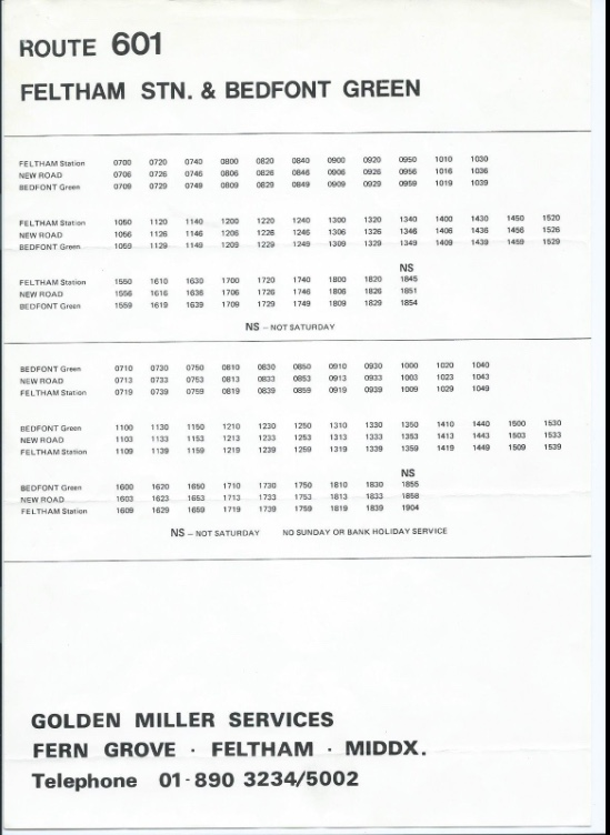 601 timetable