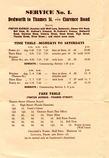 1950 timetable service 1