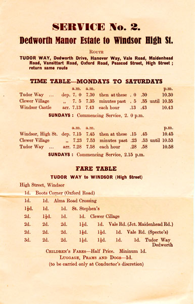 1950 timetable service 2