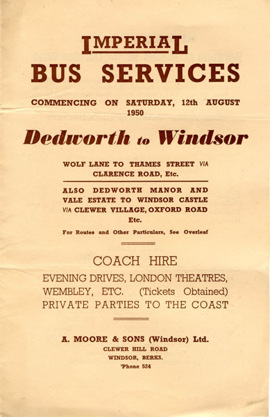 cover of 1950 timetable leaflet