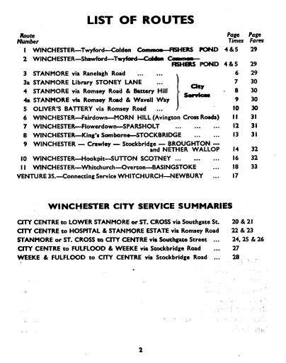 1950 list of routes