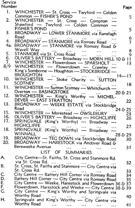 1965 list of routes