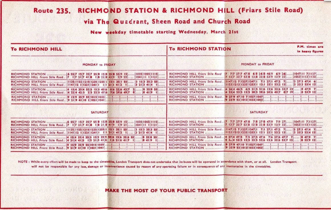 London Transport 235 timetable