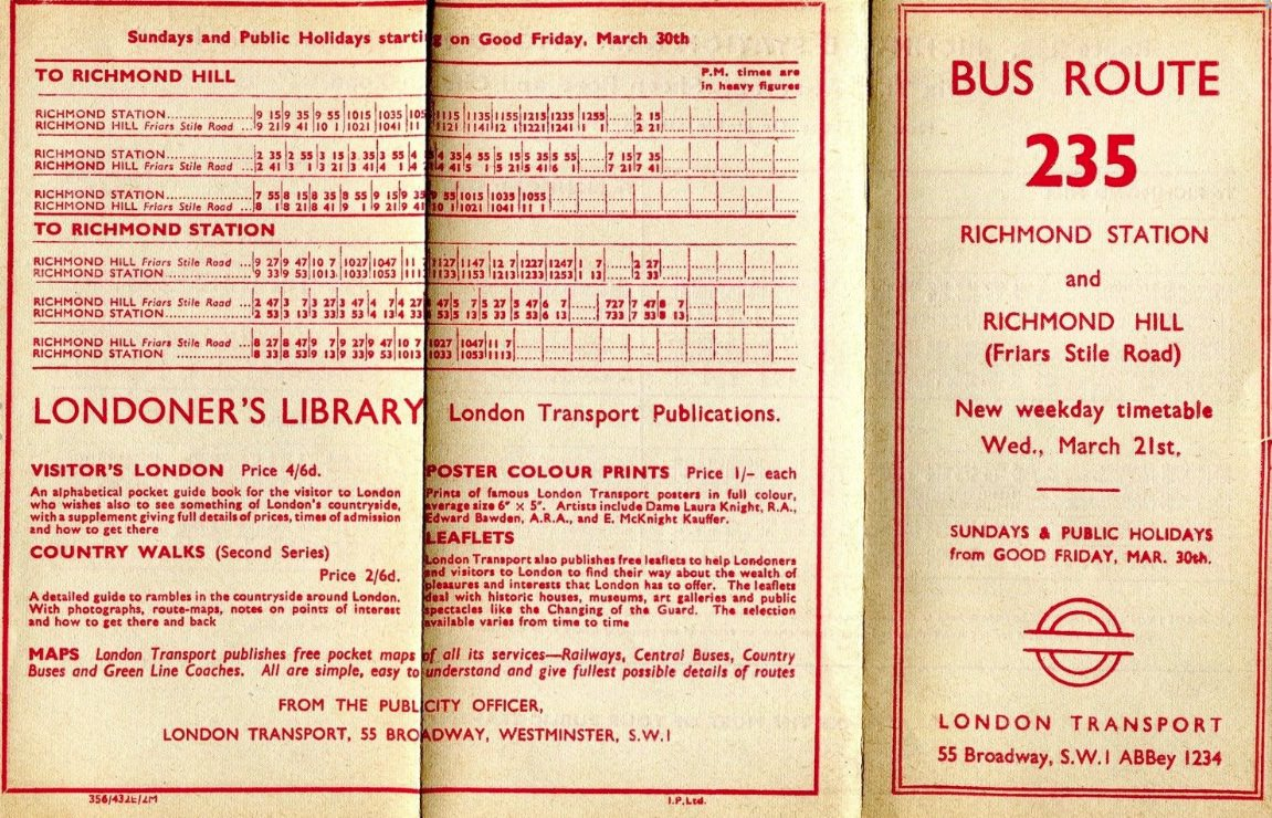 235 London transport timetable