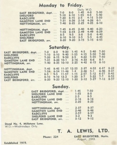 1943 T A Lewis timetable