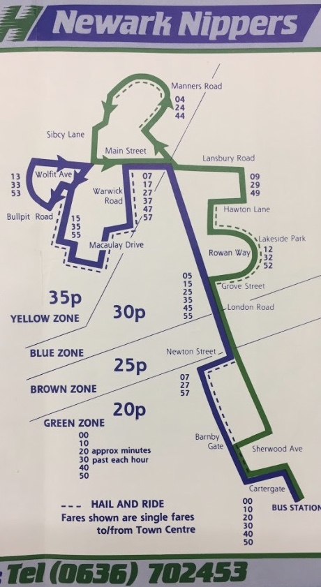 Newark Nipper minibuses map and times 1986